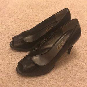 """3"""" Black Patent Leather Peep-toe Pump"""